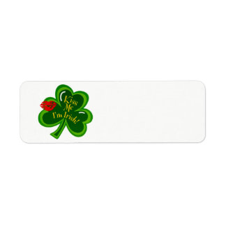 Kiss Me I'm Irish text Return Address Label