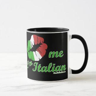 Kiss Me I'm Italian Black Background Mug