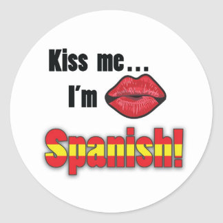 Kiss Me I'm Spanish Classic Round Sticker