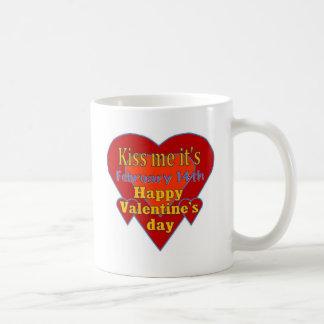kiss me it s valentines day coffee mug