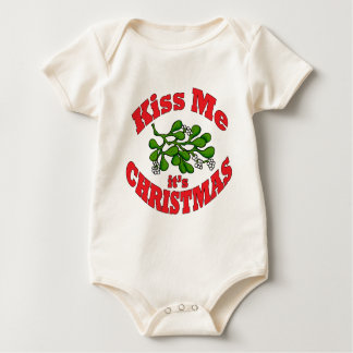 kiss me it's Christmas Baby Bodysuit