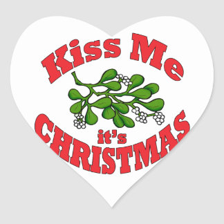 kiss me it's Christmas Heart Sticker