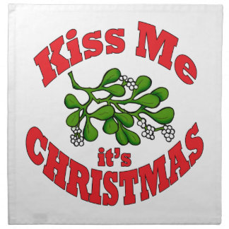 kiss me it's Christmas Napkin