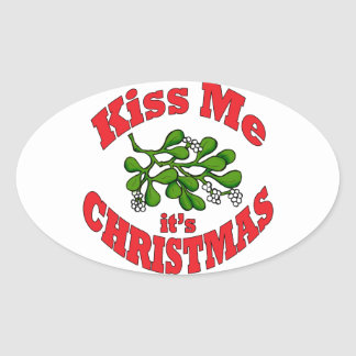 kiss me it's Christmas Oval Sticker