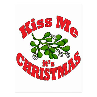 kiss me it's Christmas Postcard