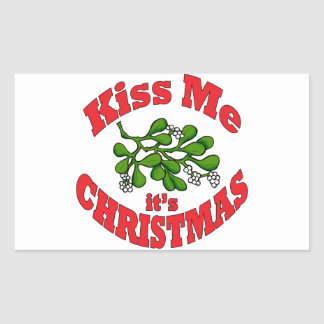 kiss me it's Christmas Rectangular Sticker