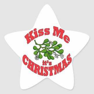 kiss me it's Christmas Star Sticker