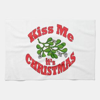 kiss me it's Christmas Tea Towel