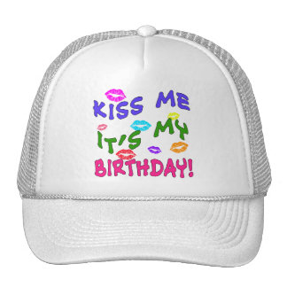 Kiss Me It's My Birthday with Colorful Kisses Mesh Hats