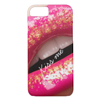 kiss me love lips lipstick background iPhone 7 case