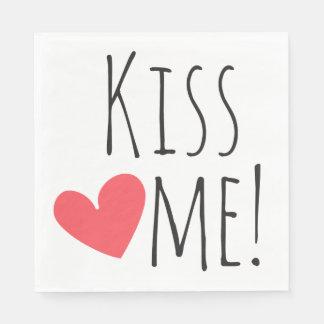Kiss Me Love Quote Red Heart Wedding Bridal Shower Disposable Serviette