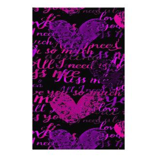 Kiss Me Miss Me Purple Stationery