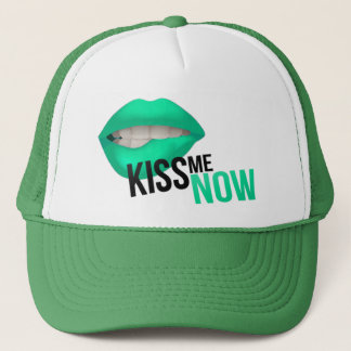 Kiss Me Now Water Green Trucker Hat