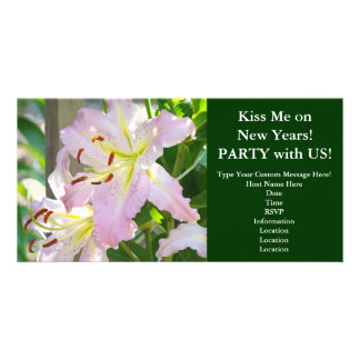 Kiss me on New Years! Invitations Pink Lily Flower Photo Cards