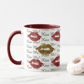 Kiss Me Red and Gold  Glitter Lips Coffee Mug