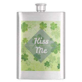 Kiss Me Shamrock Hip Flask