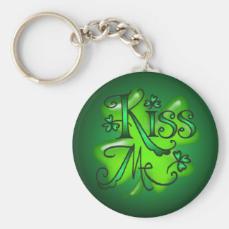 KISS ME SHAMROCKS by SHARON SHARPE Key Ring