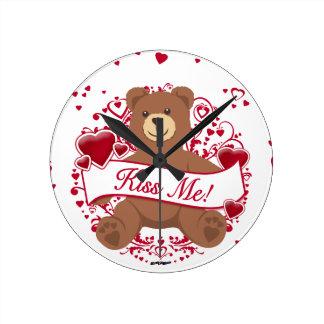 Kiss Me Valentine s Day Teddy Bear Round Wall Clocks