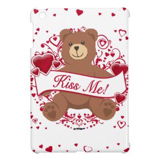 Kiss Me Valentine s Day Teddy Bear iPad Mini Cover