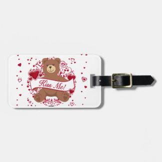 Kiss Me Valentine s Day Teddy Bear Travel Bag Tag