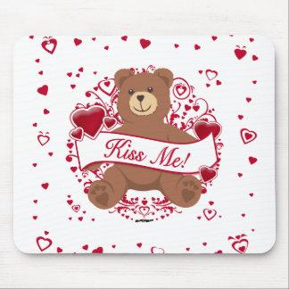 Kiss Me Valentine s Day Teddy Bear Mousepads
