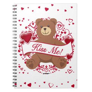 Kiss Me Valentine s Day Teddy Bear Notebook