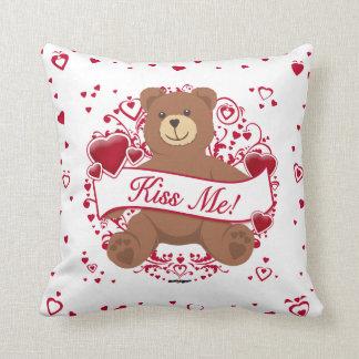 Kiss Me Valentine s Day Teddy Bear Pillow