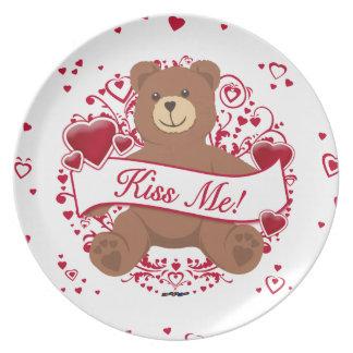 Kiss Me Valentine s Day Teddy Bear Dinner Plate