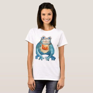 """Kiss me"" with frog, funny design T-Shirt"