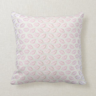 Kiss Mouth Pink Powder Gray Pastel 3D Cottage Cushion