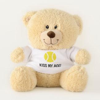 Kiss my ace funny tennis teddy bear mascot