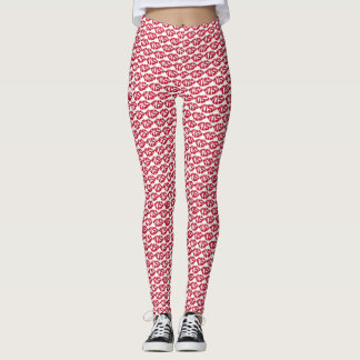 Kiss Pattern Red Lips Leggings