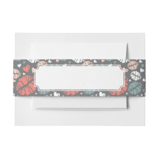 Kiss Print And Heart Pattern Invitation Belly Band