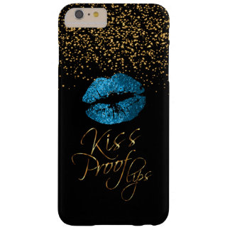 Kiss Proof with Gold Confetti & Blue Lips Barely There iPhone 6 Plus Case