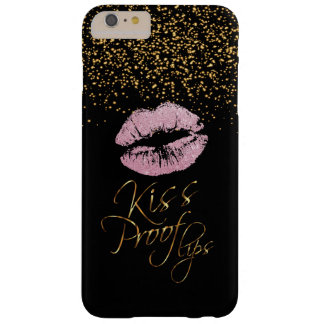 Kiss Proof with Gold Confetti & Pink Lips Barely There iPhone 6 Plus Case