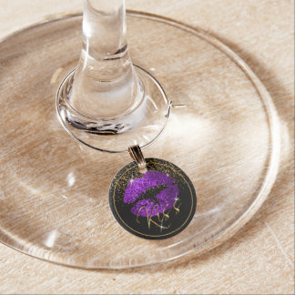Kiss Purple Glitter Lips Wine Charm