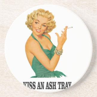 kiss the ash tray fun coaster