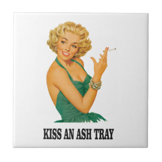 kiss the ash tray fun small square tile