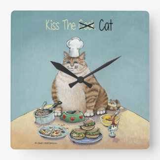 Kiss The Cat Square Wall Clock