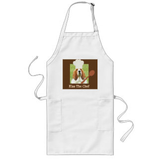 """Kiss The Chef"" apron with basset hound chef"