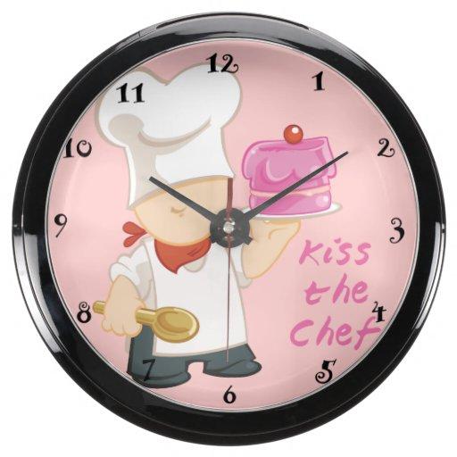 Kiss the Chef Aqua Clock