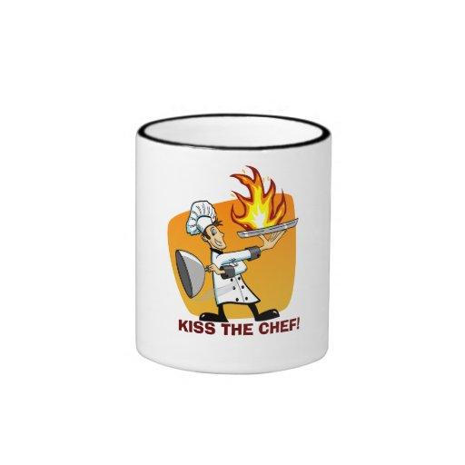 Kiss The Chef Cartoon Ringer Mug