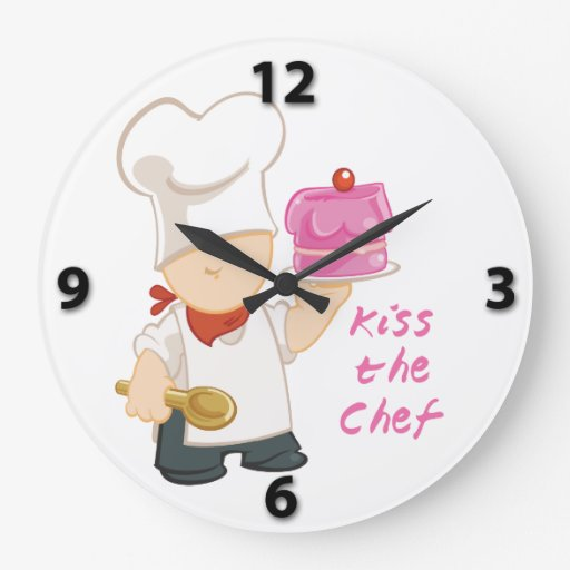 Kiss the Chef Round Wall Clock