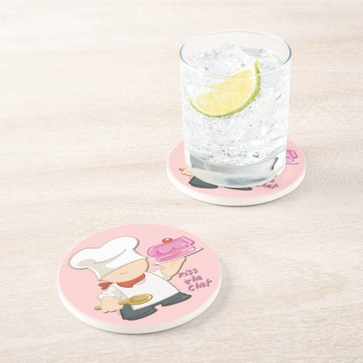 Kiss the Chef Sandstone Drink Coaster