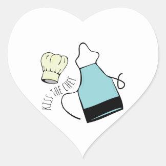 Kiss The Chef Heart Sticker