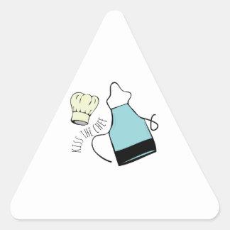 Kiss The Chef Triangle Sticker
