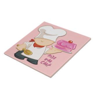Kiss the Chef Tile/Trivet Large Square Tile