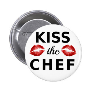 Kiss the chef with red lips word art text design button