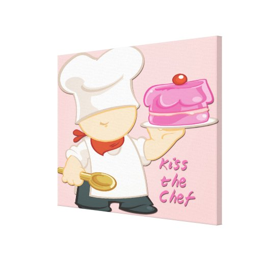 Kiss the Chef Wrapped Canvas Stretched Canvas Prints