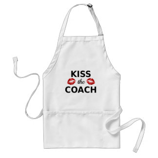 kiss the coach, text design with red lips standard apron